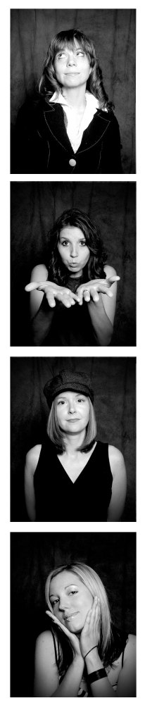 A black and white photobooth style series depicting each band member looking goofy